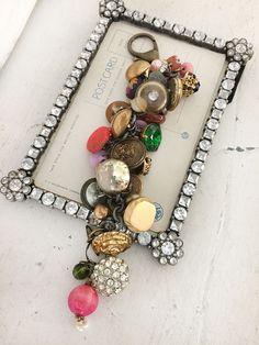 dressedupcycled button charm bracelet vintage buttons