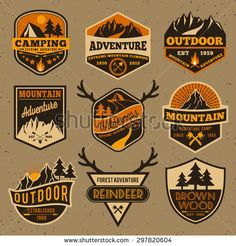 Set of summer camping outdoor adventure and mountain badge logo, emblem logo, label design