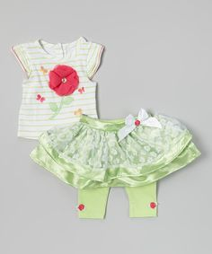 Love this White Stripe Poppy Top & Green Lace Skirted Leggings - Infant by Young Hearts on #zulily! #zulilyfinds