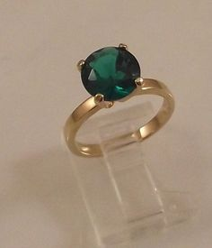 Ladies Russian Formula Emerald CZ Solitaire Gold ~Size 6 Free Gift Box