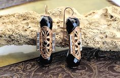Vintage Style Onyx Earrings Gold Plated 24k http://estelbijoux.it/en/45-romance #onice #onyx #jewelry #orecchini #earrings #antico #antique #gioielli #vintage