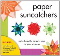 Made beautiful origami stars for your windows! Enhance your windows with stunning paper suncatchers tha shine with a kaleidoscope of colors when light passes through thier translucent layers. Paper Suncatchers includes all you need to create 11 pinwheel Paper Craft Supplies, Paper Crafts, Art Supplies, Sterling Publishing, Frederique, Paper Glue, Natural Toys, Origami Stars, Glue Sticks