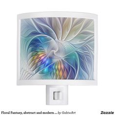 Floral Fantasy, abstract and modern Fractal Art Night Light