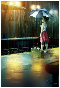 yaoyao ma van as illustration Illustrations, Illustration Art, Rain Art, Girls Life, Anime Art Girl, Cute Art, Amazing Art, Awesome, Art Drawings