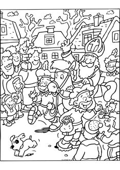 * Aankomst Sinterklaas! Coloring Books, Coloring Pages, St Nicholas Day, Christmas Colors, Doodle Art, Kids Playing, Graffiti, Doodles, Clip Art