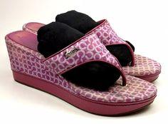 COACH Shoes ~ Fuscia Signature Wedge Flip Flop / Thong Sandals ~ US 8 M #Coach #PlatformsWedges