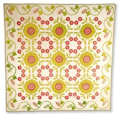 Red and green on white appliqué quilt in variation of Rose of Sharon pattern. Date:  between 1840 and 1865