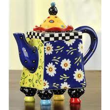 Living Color - Colorful Teapot by Joyce Shelton Studios. This tea has Legs! Tea Pot Set, Pot Sets, Teapots Unique, Teapots And Cups, Ceramic Teapots, My Cup Of Tea, Chocolate Pots, Bunt, Tea Time