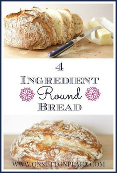 4 ingredient round bread recipe-- looks so delicious (and easy too!) | via On Sutton Place