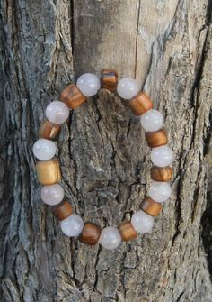 Olive Wood & Rose Quartz bracelet by ellenisworkshop on Etsy