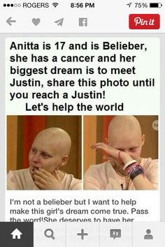 Repin please share this photo and help this girls dream come true Thx :)