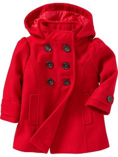 Vintage Kid Red Pea Coat with Flowers Embroidery/ for Girls Age 5 ...