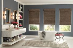"""Product: Roman Collection: Saterra Color: 03269 Options Shown: Standard Roman Style in Saterra, Azure 03269 with Blackout Liner in Black Coffee 5632; Cordless Lift; Premiere 6"""" valance."""