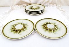 2 Vintage French Green and White Oyster Plates by St Armand / Seafood Tableware, French Dining, Retro Vintage French Interior, Mid Century by VintageDecorFrancais on Etsy