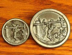 """Mother/Daughter Antique Metal Picture Buttons, Cat Catching a Duck, 1"""" & 1-1/2"""""""