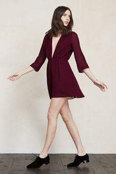"""The Freya Dress is down if you are. This one's cut """"down to there"""" and is a good option for when you want to flirt without feeling overexposed.This is a georgette mini dress with a plunging V neckline, fitted waist and sheer long sleeves.    https://www.thereformation.com/products/freya-dress-merlot?utm_source=pinterest&utm_medium=organic&utm_campaign=PinterestOwnedPins"""