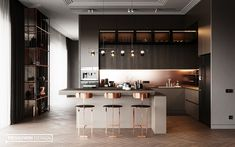 Kitchen-livingroom Goodlife park on Behance Modern Kitchen Interiors, Luxury Kitchen Design, Kitchen Room Design, Modern Kitchen Cabinets, Home Room Design, Kitchen Cabinet Design, Kitchen Layout, Home Decor Kitchen, Interior Design Living Room
