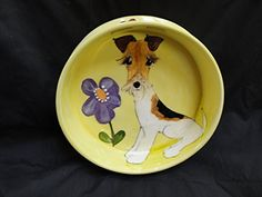 Wire Fox Terrier Dog Bowl for Food or Water Personalized at no charge signed by Artist Debby Carman * Click image for more details.(This is an Amazon affiliate link)