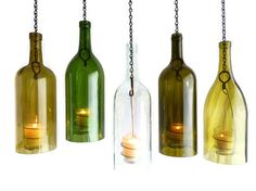 Clear Wine Bottle Hanging Hurricane Lantern Big 15L by BoMoLuTra
