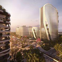 UNStudio unveils masterplan for Karle Town Centre smart city in Bangalore Future Buildings, Futuristic Architecture, Architecture Design, Urban Heat Island, Passive Design, Sky Garden, Urban Life, Built Environment, Awesome