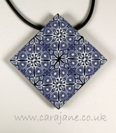 Blue and White Kaleidoscope Tile Pendant in Polymer Clay by Cara Jane Hayman www.carajane.co.uk