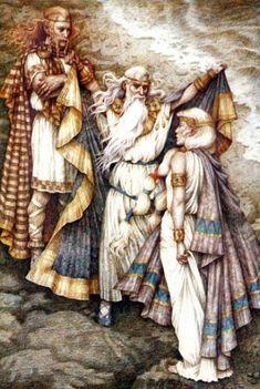 Manannan Mac Lir lifting the veil between Cu Chulainn and Fand