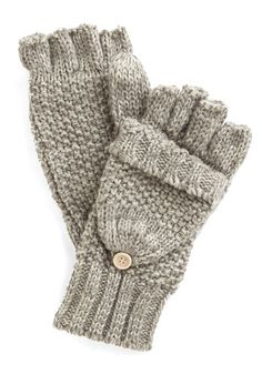 Saturday at the Stables Fingerless Gloves. Trot down to greet new riders after slipping into these oatmeal gloves! #grey #modcloth