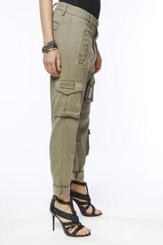 Pantalone Cargo Mason's donna modello Asia Snake in Tencel con patch - Masons