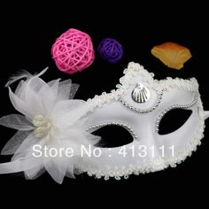 Masquerade mask white Venice Flowers