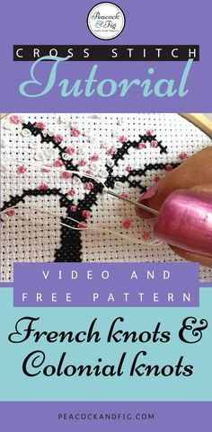 Cross stitch tutorial about how to easily do French knots and Colonial knots. Includes free pattern!