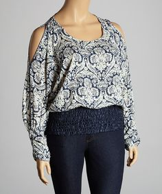 65b73bbcc9a Another great find on  zulily! Navy  amp  White Damask Cutout Top - Plus