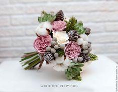 Купить Зимний букет невесты с цветами из полимерной глины - букет невесты, букет из глины