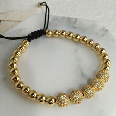 Men Bracelets,24K Gold Plated Round Beads amp; 8mm Micro Pave Black CZ Beads Micro Pave Cubic Zirconia Braiding Macrame Bracelets Love it? Visit our store