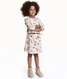 Dress with Belt | Light beige/butterflies | Kids | H&M US