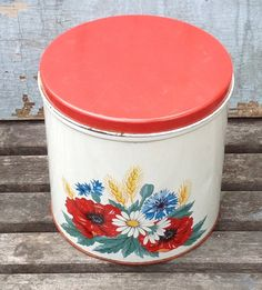 Vintage Red and White Canister Large poppies by MulfordCottage