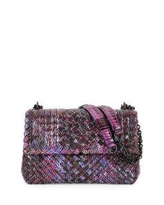 e0900b68de30 Bottega Veneta Medium Tweed-Print Intrecciato Watersnake Shoulder Bag