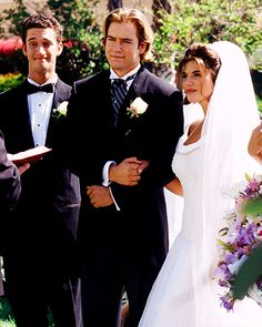 Saved By the Bell's Kelly Kopowski  Zack Morris (Mark-Paul Gosselaar) and Kelly Kopowski (Tiffani Amber Thiessen) were saved by the wedding bells when they got hitched in Vegas during the show's 1994 series finale. The bride wore a short-sleeve design with a beaded bodice and topped off her brunet bob with a veil.