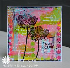 Some fiddling on the kitchen table: With Love card using Darkroom Door Carved Flowers Rubber Stamps!