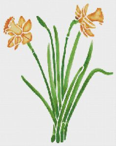 Yellow Daffodils Flowers Counted Cross Stitch by xstitchpatterns