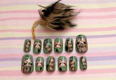 Fake nails, nail dangling, raccoon, hand painted, green, kawaii, animal, funny, gift for her. $20.00, via Etsy.