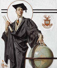 "J.C. LEYENDECKER: 'June Graduate', Oil on Canvas (24.25"" x 20″)"