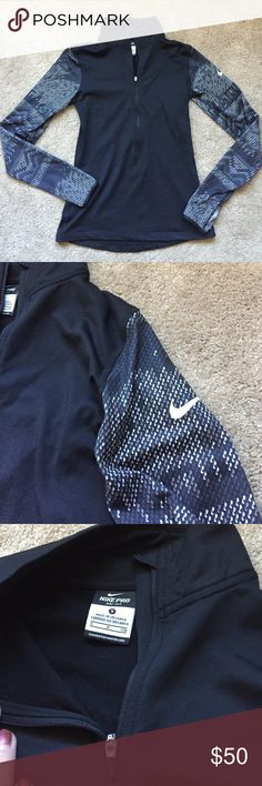 Long Sleeve Nike Dri-Fit Worn twice, excellent condition Nike Dri-fit • has holes for your thumbs • 88% polyester, 12% spandex • fleece like on inside, so very comfy and warm and perfect for the winter Nike Tops Tees - Long Sleeve