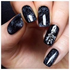 Acrylic nails, Black nails ideas, Evening dress nails, Evening nails, Luxurious…