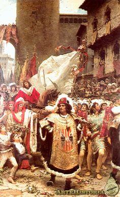 """Ramón Tusquets """"Entrada del Príncipe de Viana en Barcelona"""" 1885"""