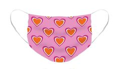 Pink & Orange Hearts Face Mask. Available in flat or pleated style - one size fits most. #facemask #mask #hearts #heartfacemask