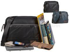 Bugatti MOTO D - Umhängetasche Querformat Schultertasche Notebooktasche - schwarz oder blau 498255