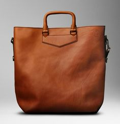My love for man purse... Man Bag Monday: Burberry Large Washed Leather Tote
