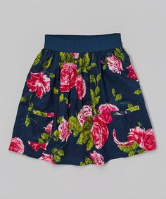 Another great find on #zulily! Navy & Hot Pink Petal Party Skirt #zulilyfinds