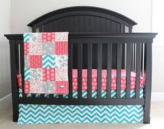 Minus the chevron print, substitute for baby elephants and a coral and turquoise color scheme instead. Custom Crib bedding  Turquoise Hot Pink And Grey by GiggleSixBaby, $250.00