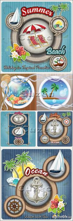 Travel summer elements in vector